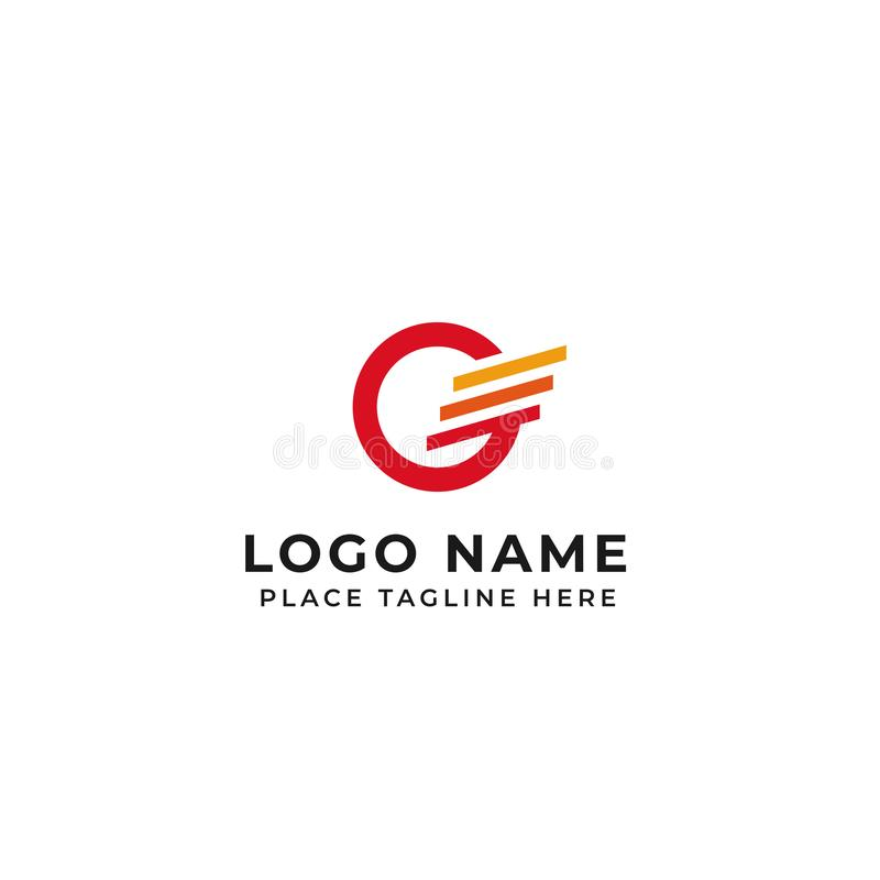 G letter logo design. circle with three stripes for wing concept vector icon illustration vector illustration