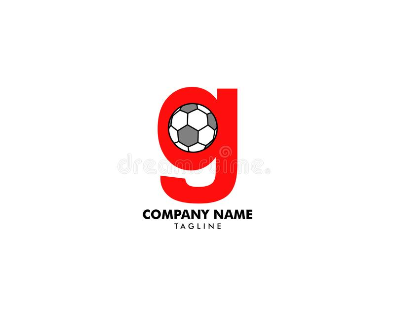 G letter logo, football ball logo design stock illustration