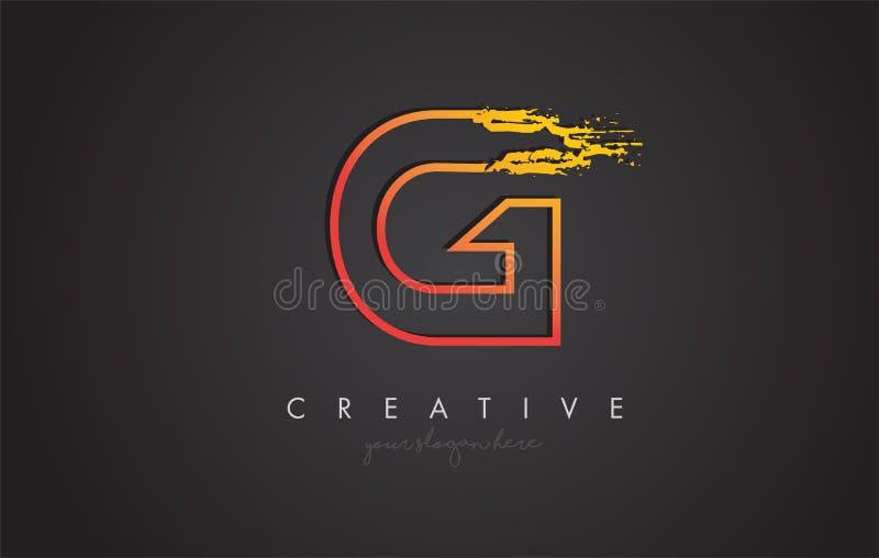 G Listowy projekt z Złotym konturem i Grunge Szczotkarską teksturą ilustracja wektor
