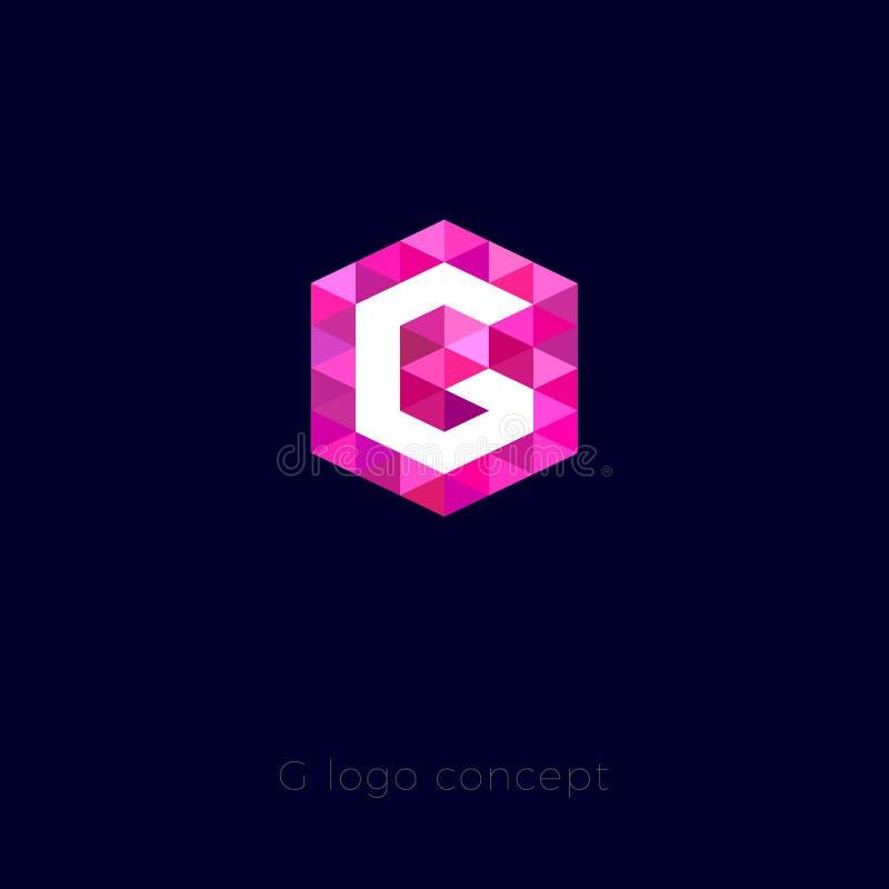 G listu logo G monograma ikona G list i różowy kryształ ilustracja wektor