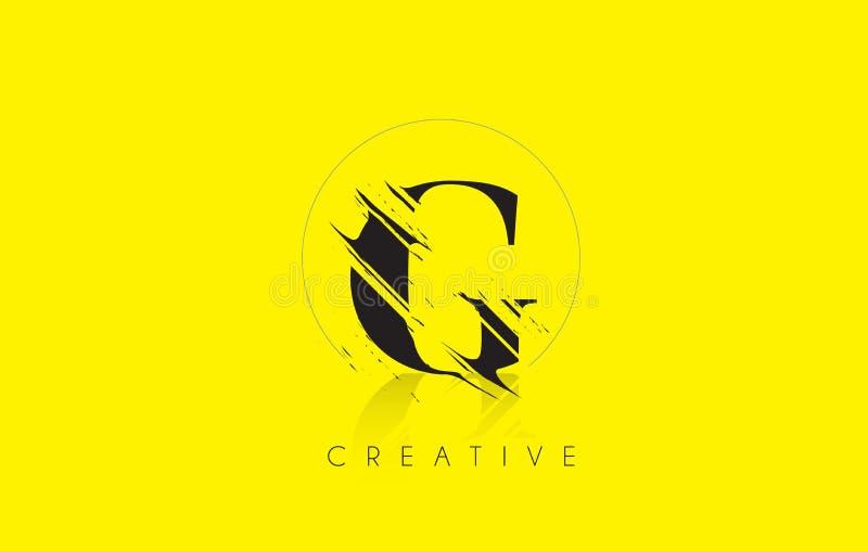 G listu logo z rocznika Grundge rysunku projektem Zniszczony cięcie ilustracja wektor