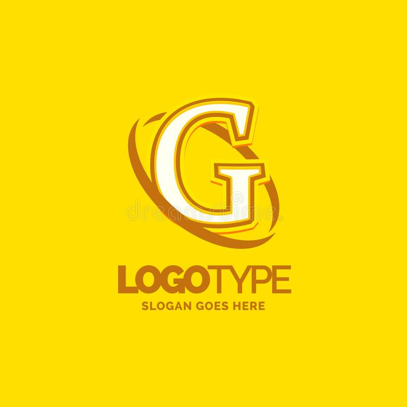 Colorful Company Logo Template With Tagline: G Logo Template . Yellow Background Circle Brand Name