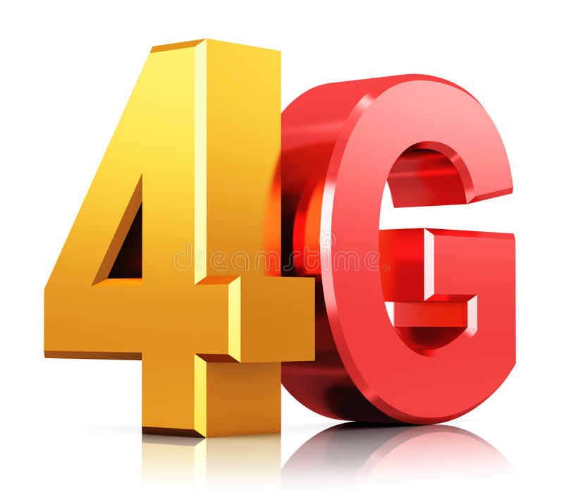 4G LTE wireless technology logo. Creative abstract mobile telecommunication cellular high speed data connection business concept: red and yellow metallic 4G LTE vector illustration