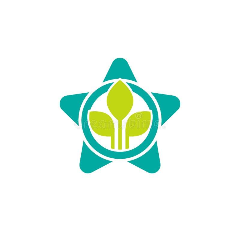 G?ltige Dichtungsikone Medaille des blauen Sternes und grüne Blätter Flache ?kologieaufkleberikone vektor abbildung