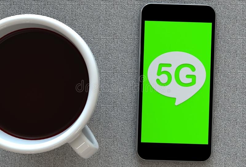 5G, message on speech bubble with smart phone and and coffee royalty free illustration