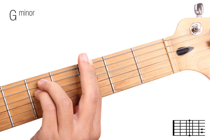 G Minor Guitar Chord Tutorial Stock Photo - Image of neck, example ...