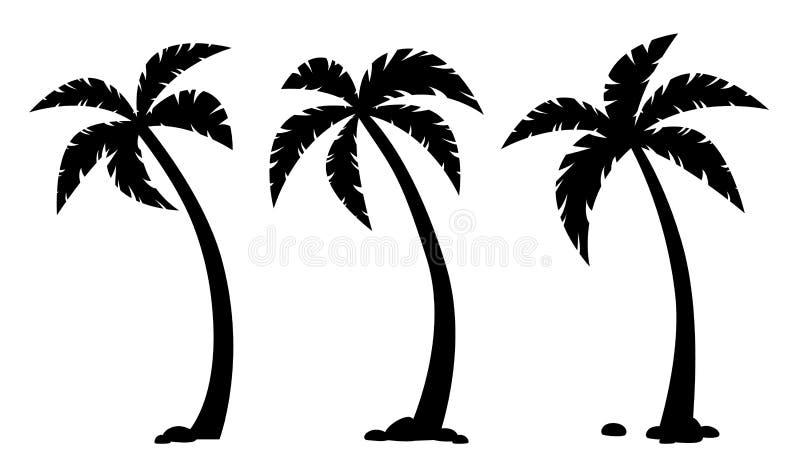 G?mma i handflatan tropiska tr?d Upps?ttning av svarta konturer stock illustrationer