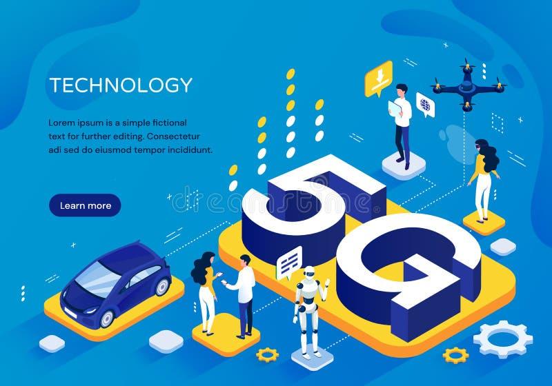 5G mobiel netwerkconcept, pictographic Malplaatje voor verhoogde snelheid van communicatie met mensen bij divers stock illustratie