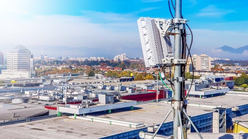 5G mobile telecommunication cellular radio network antenna stock photo