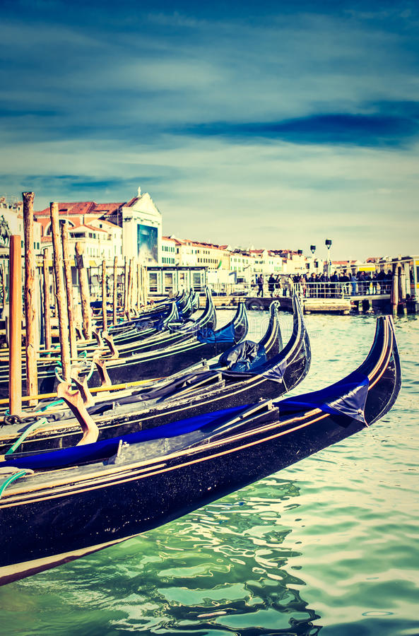 Gôndola na praça San Marco, Veneza fotos de stock