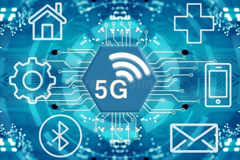 5G netwerk draadloze systemen en Internet stock illustratie
