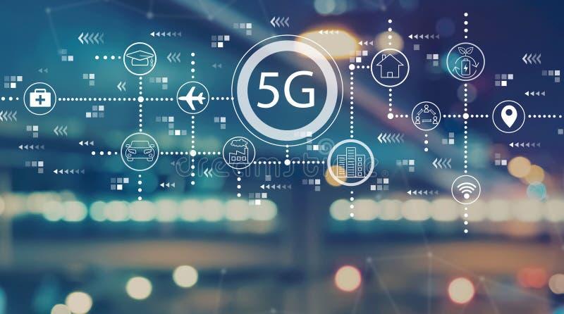 5G netwerk met vage stadslichten stock illustratie