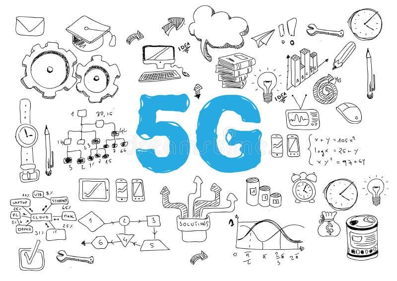 5G netwerk of mobiele snelheid als breedbandconcept met pictogrammen - Het vector vector illustratie
