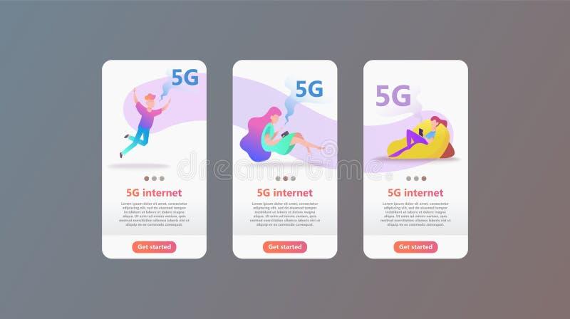 5G netwerkconcept Het beeldverhaalkarakter gebruikt snel mobiel Internet lte vector illustratie