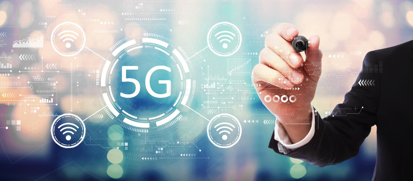 5G network with businessman stock photos