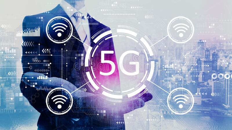 5G network with businessman stock images