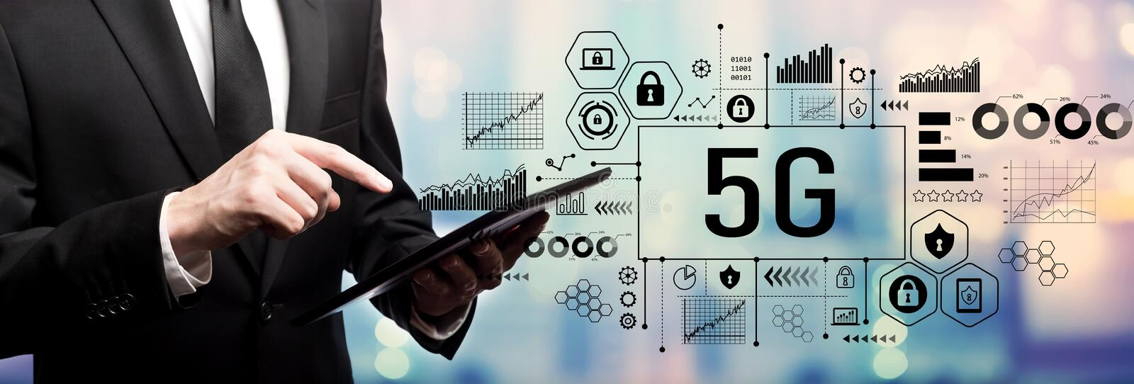 5G network with businessman royalty free stock photo