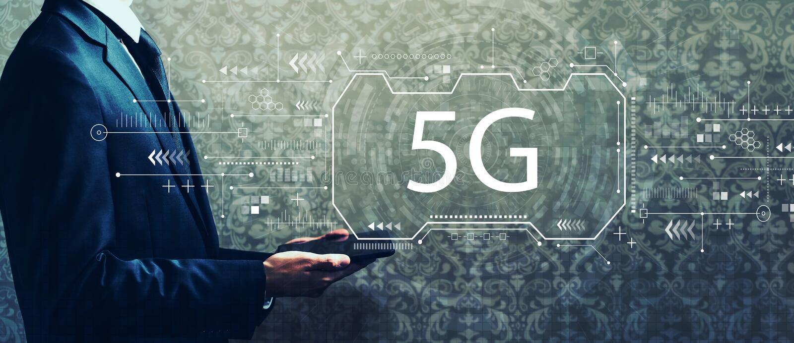5G network with businessman holding a tablet royalty free stock images