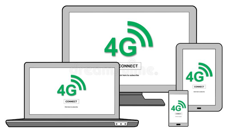 4g network concept on different devices. 4g network concept shown on different information technology devices stock illustration