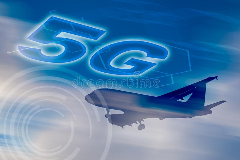 5G network conceptual - Connected everywhere for everyone. With motion blur background stock illustration