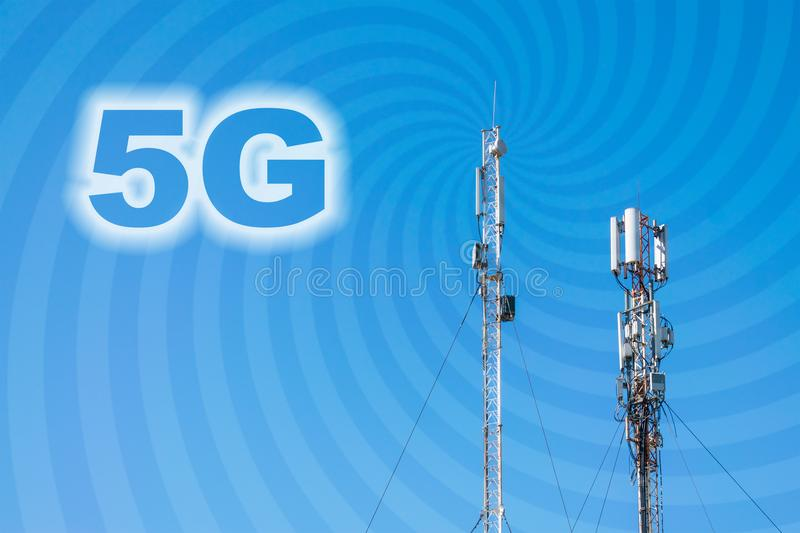 5G Network Connection Concept. Micro cell 3G, 4G, 5G Mobile phone base station against a blue sky with rays and text 5G. Smart ce royalty free stock photo