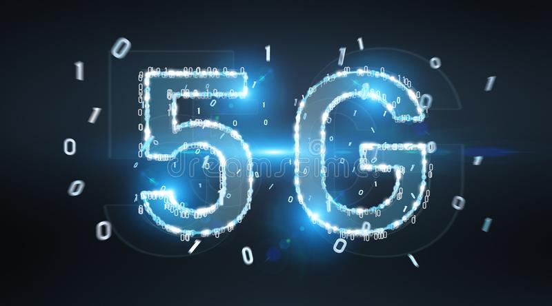 5G network digital hologram 3D rendering vector illustration
