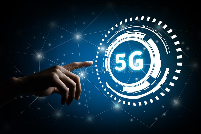 5G network digital and internet of things on city background royalty free stock photo