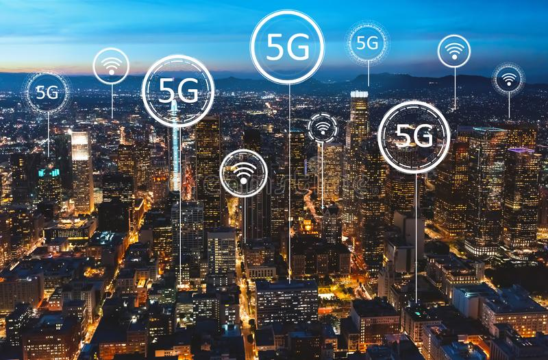 5G network with downtown Los Angeles royalty free stock photos