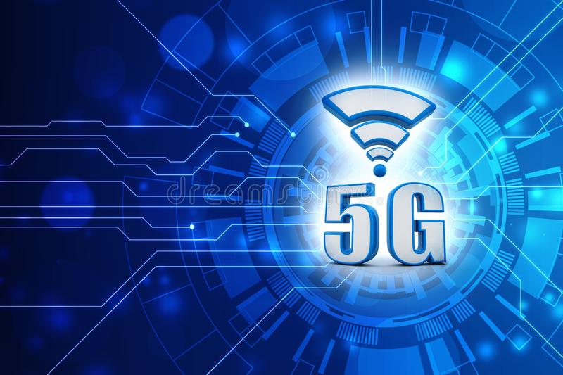 5g Speed Internet Connection concept background. 5G Network, 5G internet Connection Concept, Internet Communication Concept. 3d rendering vector illustration
