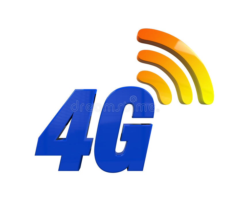 4G Network Icon. Isolated on white background. 3D render stock illustration