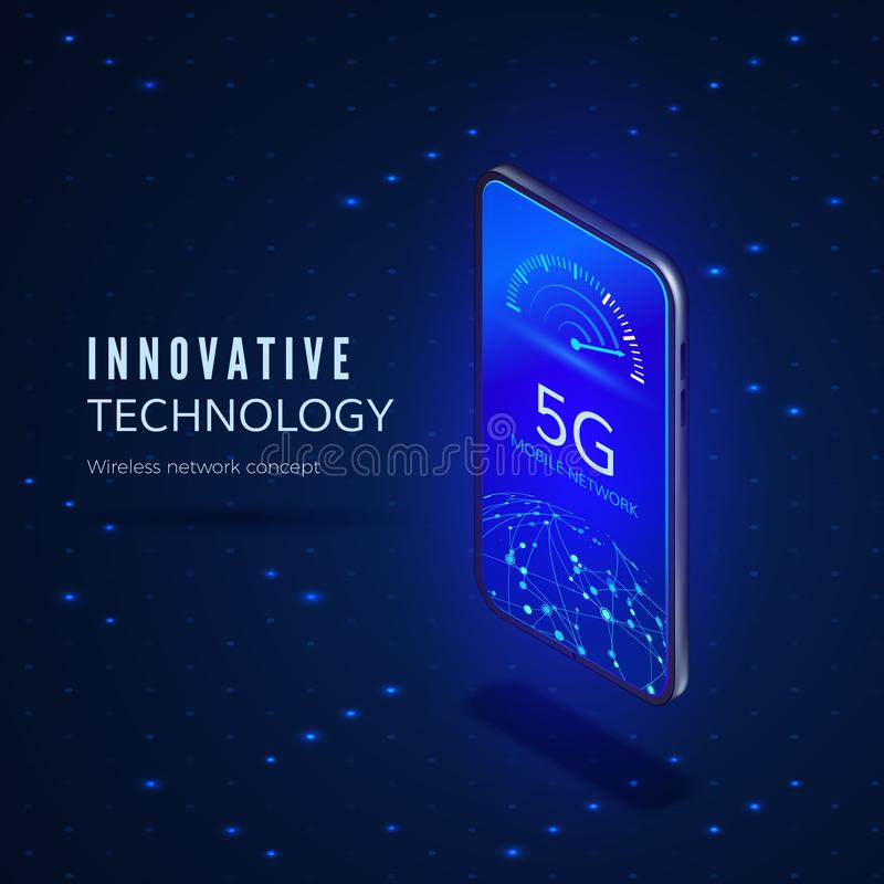 5G network innovation technology banner. Wireless systems and internet. Communication network. vector illustration
