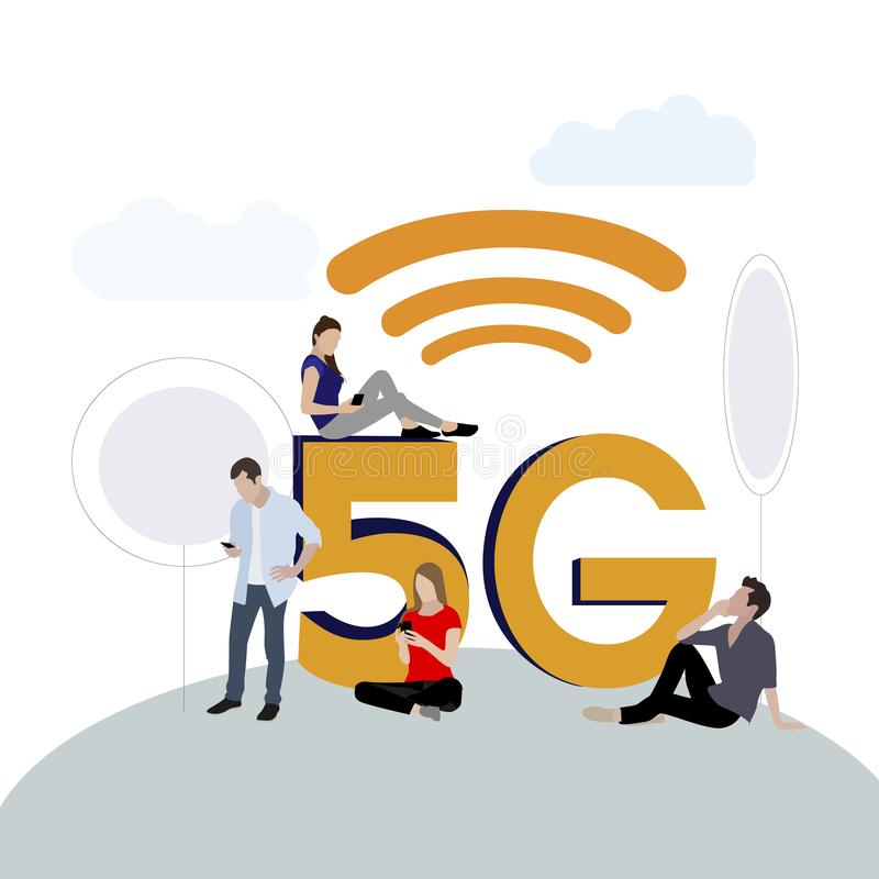 5g network. New modern mobile connect technology royalty free illustration