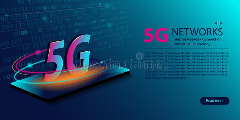 5G network new wireless internet wifi connection. Innovative generation of the global high speed Internet broadband. Big data stock illustration