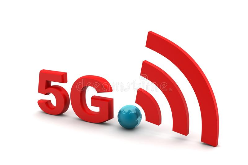 5g with network sign. In white background royalty free illustration