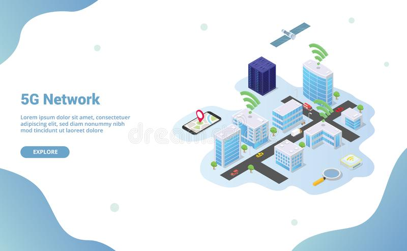 5g network on smart city building technology with wifi signal with isometric modern style for website template or landing homepage. Vector illustration vector illustration