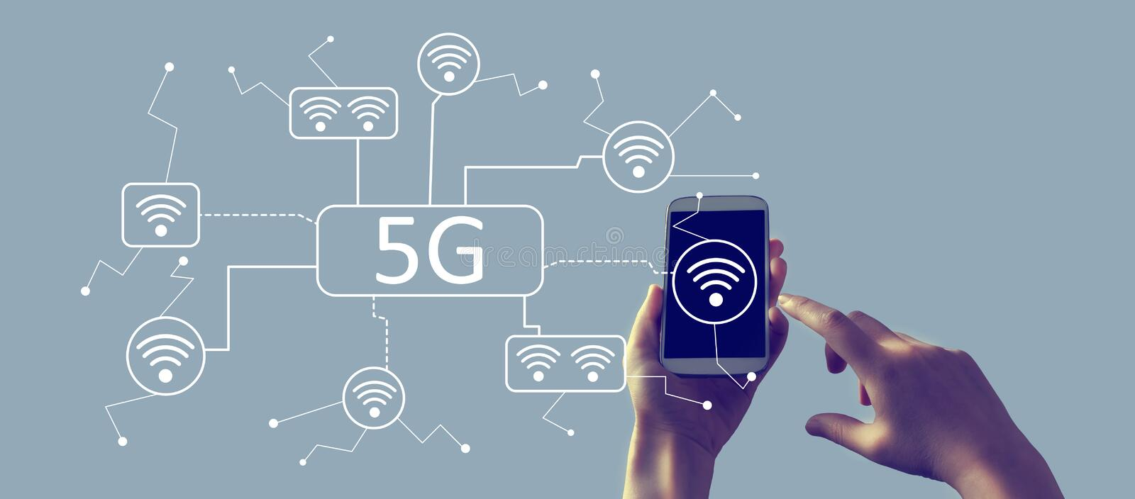 5G network with smartphone. 5G network with person holding a white smartphone stock illustration