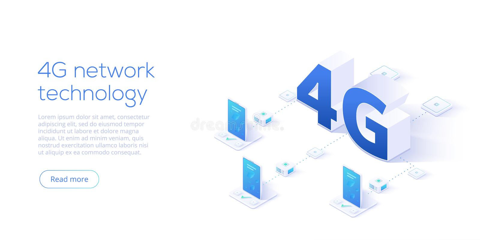 4g network technology in isometric vector illustration. Wireless. Mobile telecommunication service concept. Marketing website landing template. Smartphone stock illustration