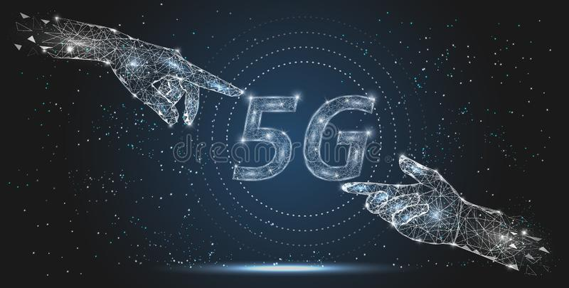5G network technology, vector polygonal art style illustration royalty free illustration