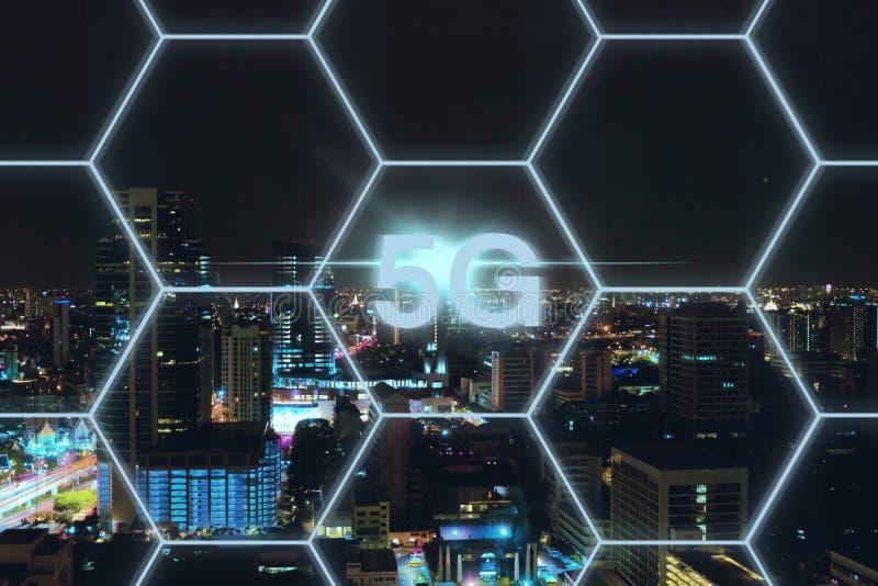 5G network wireless system background concept. Technology, communication, internet, information, smart, connect, digital, business, mobile, global, web royalty free illustration