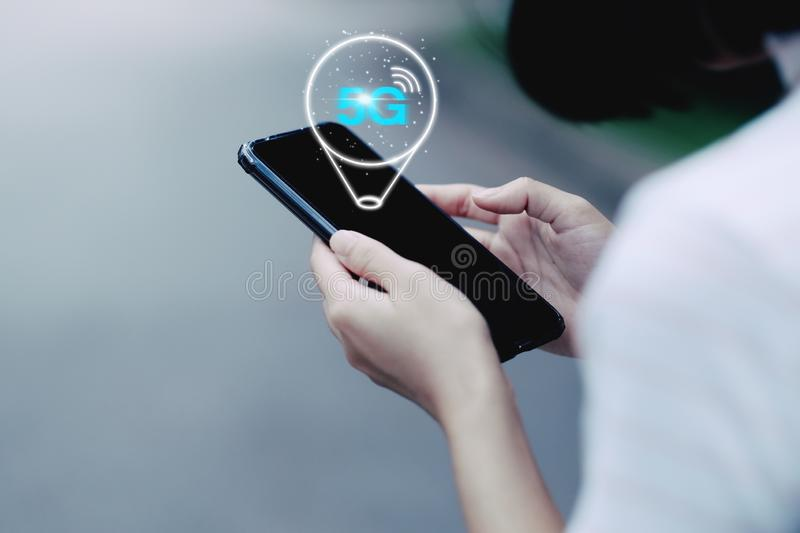 5G network wireless system on smartphone stock illustration
