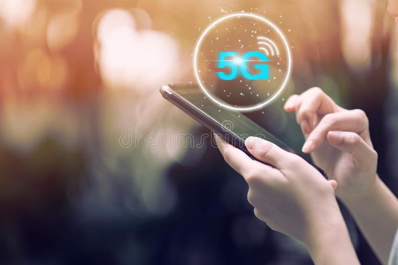 5G network wireless system on smartphone. Technology, concept, communication, internet, information, connect, digital, business, mobile, global, web, abstract stock illustration