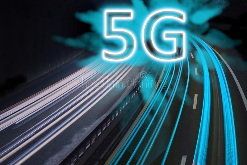 5G network wireless systems and internet shown with trail lights on highway. 5G network wireless systems and internet shown with blue trail lights on highway stock illustration