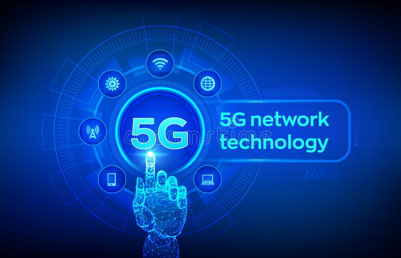 5G network wireless systems and internet of things, Smart city and communication network. 5G wireless mobile internet wifi. Connection. Robotic hand touching stock illustration