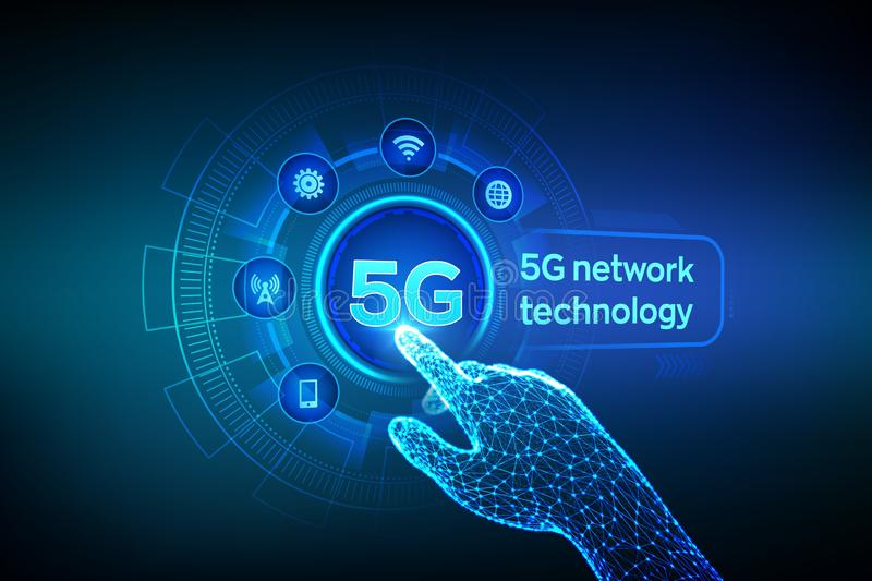 5G network wireless systems and internet of things, Smart city and communication network. 5G wireless mobile internet wifi. Connection. Robotic hand touching royalty free illustration