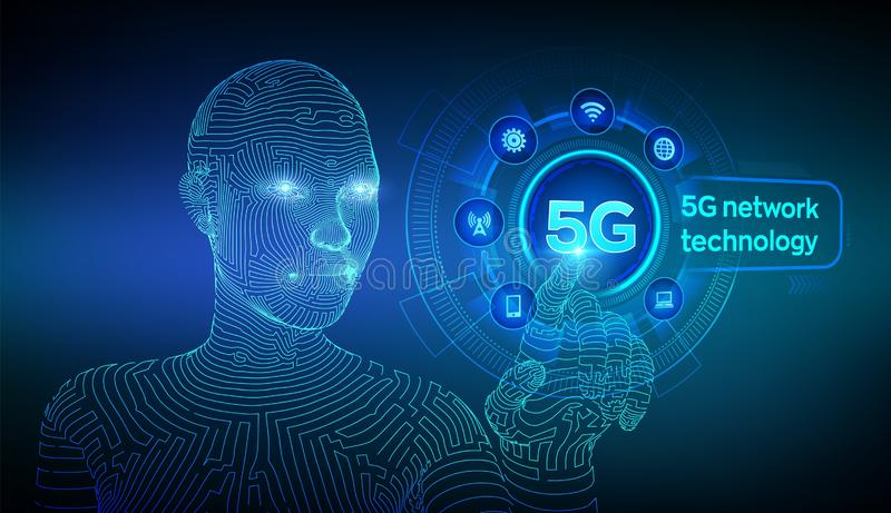 5G network wireless systems and internet of things, Smart city and communication network. 5G wireless mobile internet wifi. Connection. Wireframed cyborg hand royalty free illustration