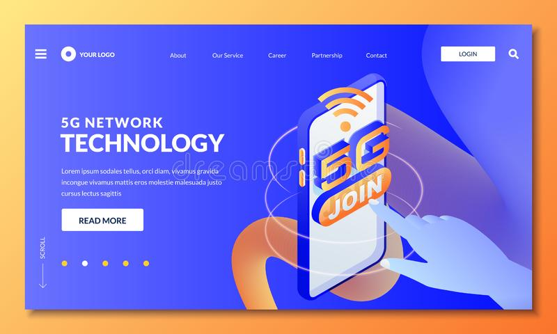 5G network wireless technology. Landing page, web banner design layout. Vector 3d isometric illustration royalty free illustration