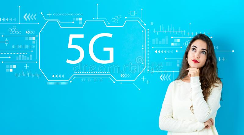 5G network with young woman royalty free illustration