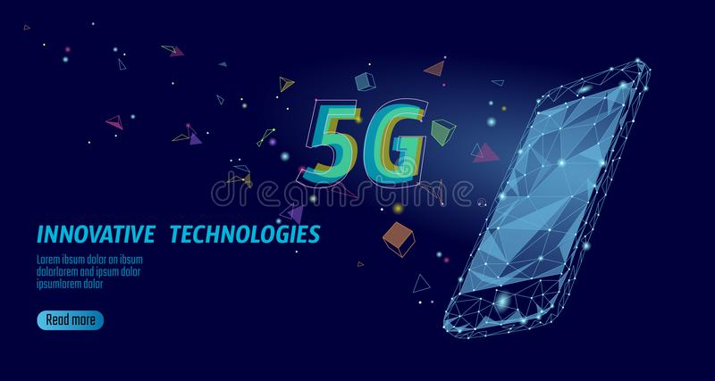 5G new wireless internet wifi connection. Laptop mobile device isometric blue 3d flat. Global network high speed royalty free illustration
