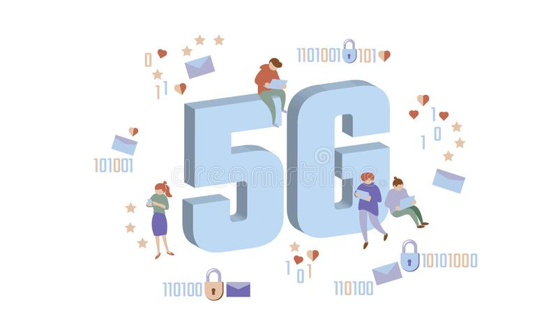 5G new wireless internet wifi connection. Small people large big symbol letters. Gadgets device isometric blue 3d flat. Global network high speed innovation stock illustration
