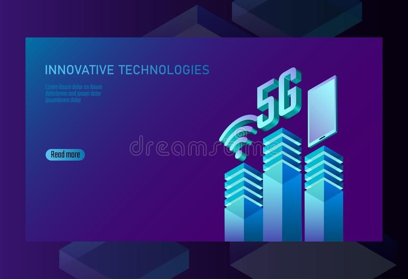 5G new wireless internet wifi connection. Smartphone mobile device isometric blue 3d flat. Global network high speed vector illustration
